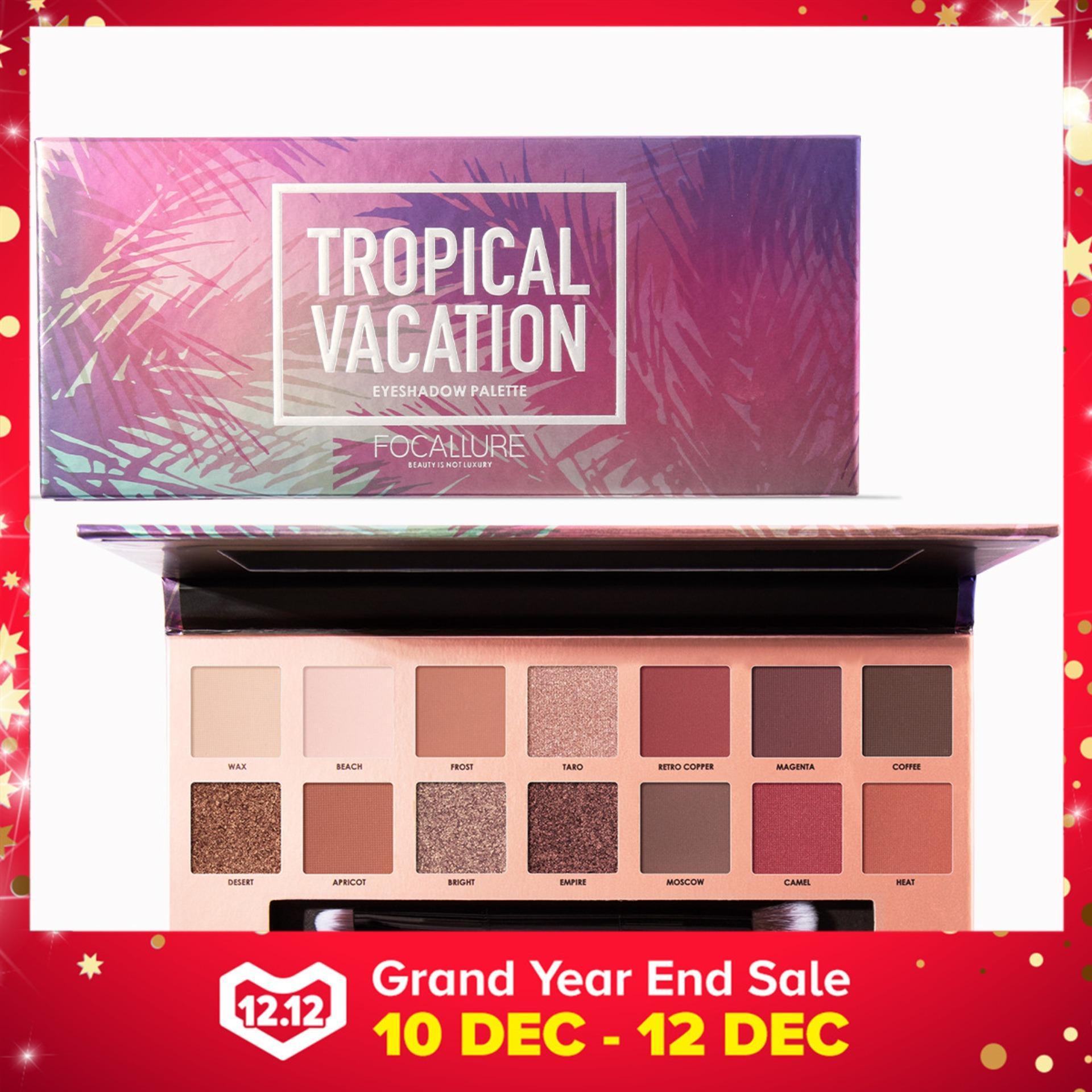 FOCALLURE 14Colors Eyeshadow Palette Matte Glitter Shimmer Tropical Vacation Eyeshadow Palette with Brush 49 T Color