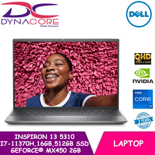 DYNACORE - DELL Inspiron 13 5310 Platinum Silver 13.3-inch 16:10 QHD | i7-11370H | 16GB RAM | 512GB SSD | GeForce(R)MX450 | WIN 10 HOME | 2 YEARS WARRANTY