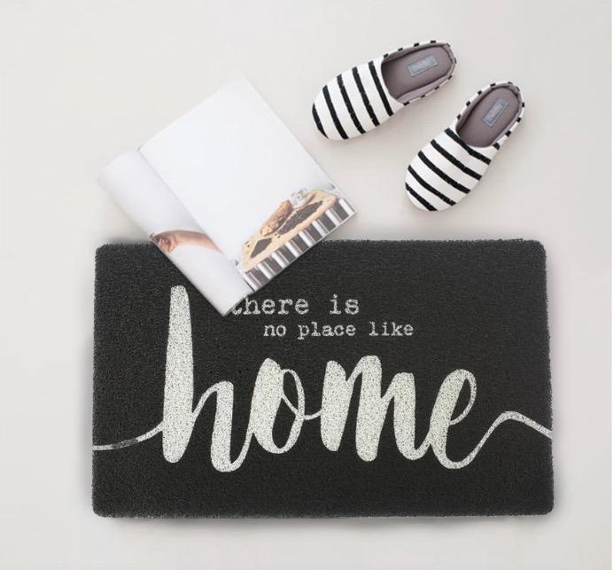Nordic Grey letters door mat thickened PVC floor mat bedroom bathroom kitchen non-slip absorbent pad