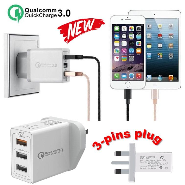 Qualcomm Quick Charge 3.0 Usb Wall Charger / 3 Port / Usb Port With Qc 3.0 Port / Uk Plug / Usb Wall Charger Fast Charging For Iphone X 8 7 Samsung S8 Xiaomi Tablet Power Bank By Somymall.
