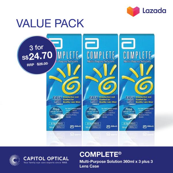 Buy COMPLETE® Multi-Purpose Solution 360ml x 3 plus 3 Lens Case Singapore