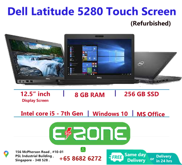 [Same Day Delivery or within 24 hrs Delivery ] Dell Latitude 5280 with Touch Screen (Refurbished)   intel core i5- 7th Gen   8 GB RAM   256 GB SSD   12.5 inch Display Screen   Windows 10   Ms office