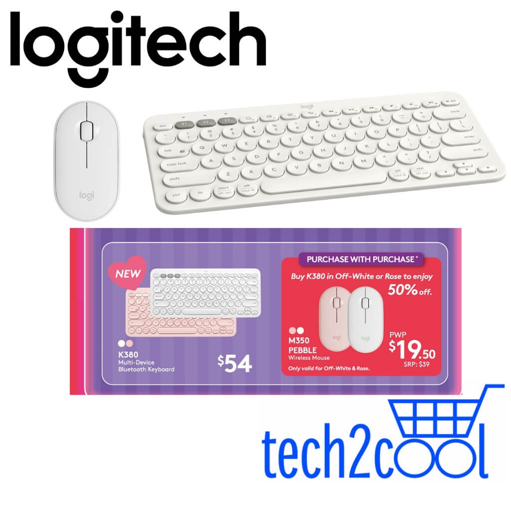 Logitech K380 White Bluetooth Only Keyboard/Pebble M350 Off-White Wireless Mouse Bundle Singapore