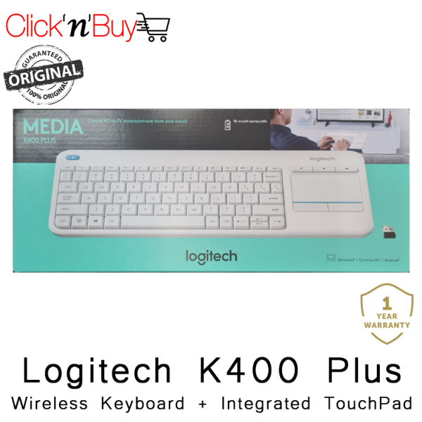 Logitech K400 Plus Wireless Keyboard + Intergrated TouchPad. Control PC to TV entertainment from your couch. Compact Size. USB Wireless. 18 Months Battery Life. Local SG Stock. 1 Year Warranty.. (In White)