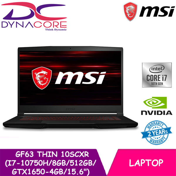 【DELIVERY IN 24 HOURS】DYNACORE - MSI GF63 Thin 10SCXR GTX 1650 Gaming Laptop (i7-10750H | 8GB | 512GB | GTX1650-4GB MAX Q | 15.6144Hz) 2 YEARS WARRANTY BY MSI (9S7-16R412-247)