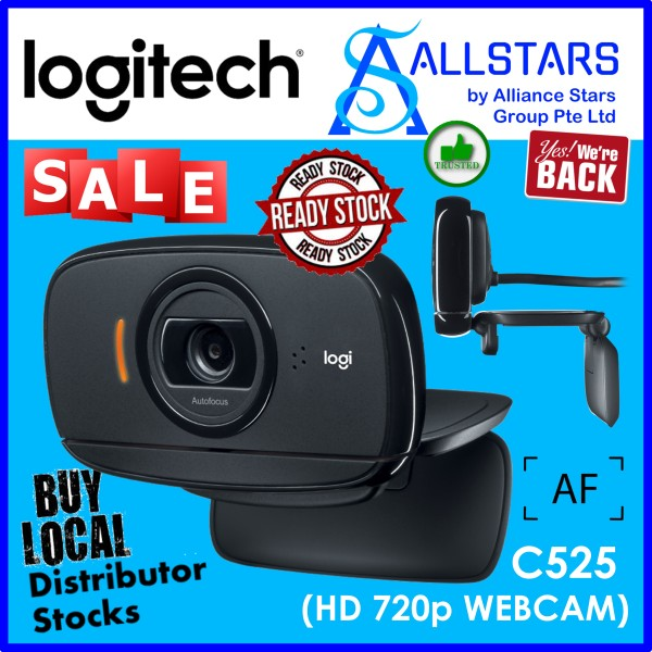 (ALLSTARS : We are Back / Conference Promo) LOGITECH C525 HD 720p Webcam / Foldable / Autofocus (960-000717)-Local Warranty 2years with BanLeong