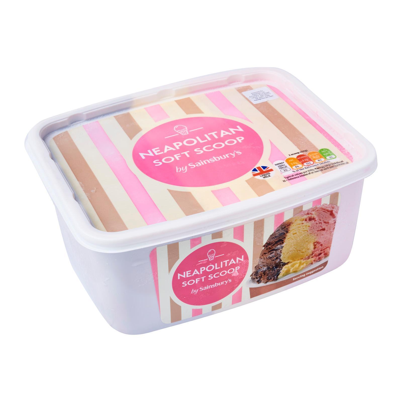 Sainsbury's Neapolitan Soft Scoop Ice Cream - Frozen