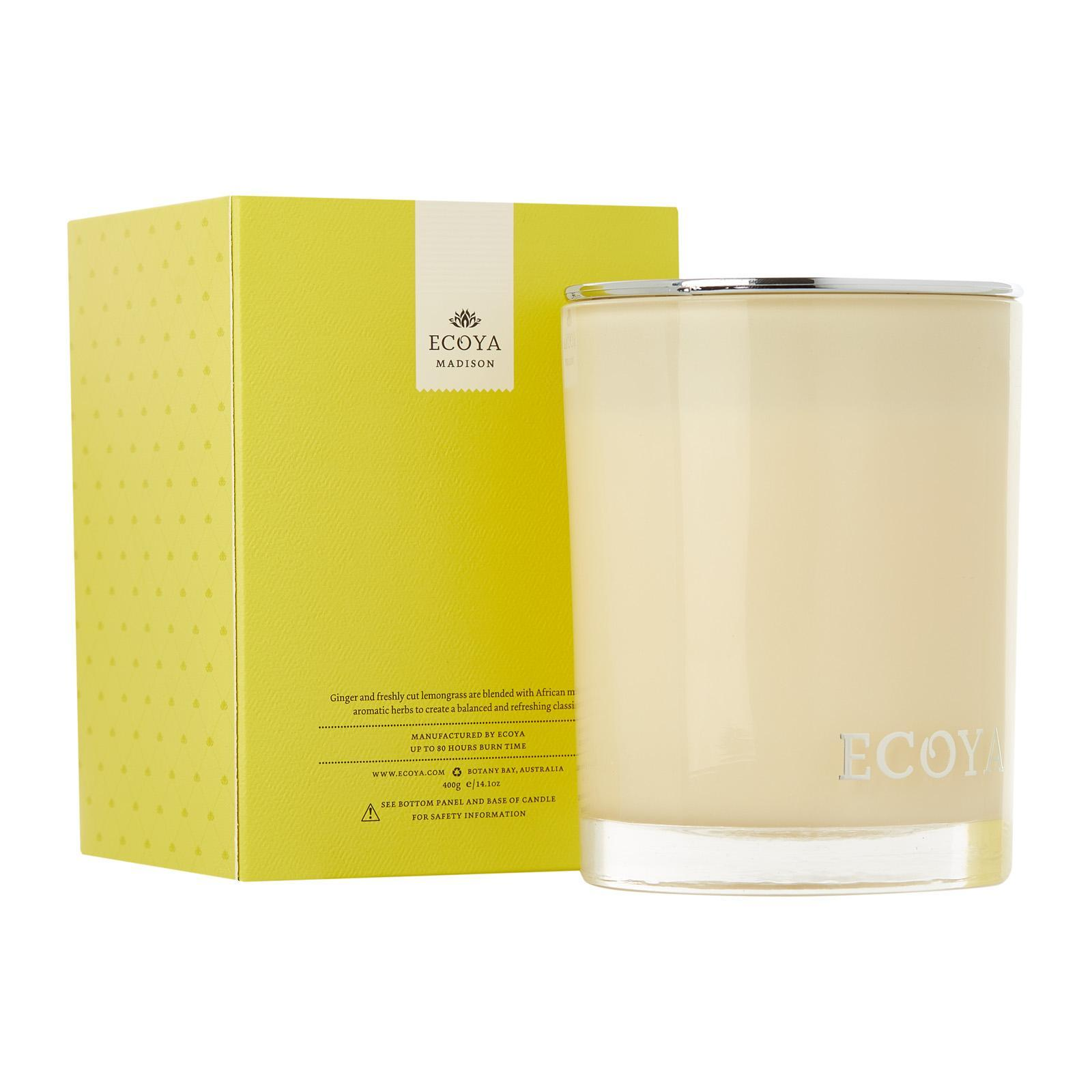 ECOYA Lemongrass And Ginger Madison Jar Candle