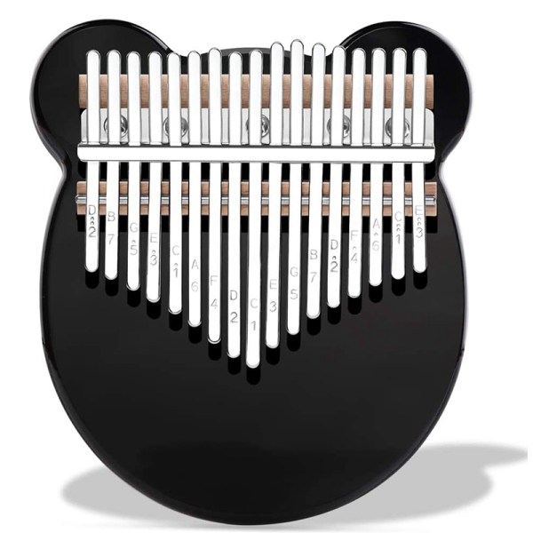 17 Keys Kalimba Crystal Thumb Piano Acrylic Portable Musical Instrument Gifts for Kids Adult Beginners (Black)