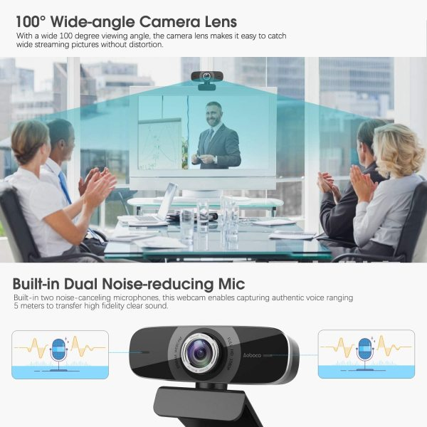 (NO BOX) Aoboco Webcam HD 1080p, Webcam Streaming Video Calling HD USB Pro Web Camera Stream with Dual Noise-reducing Mic for PC Mac Windows Laptop Twitch Xbox One OBS Xsplit