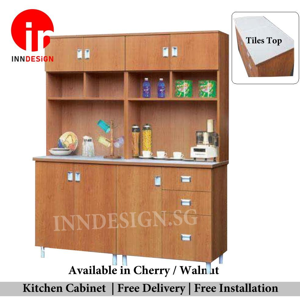 Samuel 3 Doors With Drawers and Ceramic Tiles Top  Kitchen Cabinet (Free Delivery and Installation)