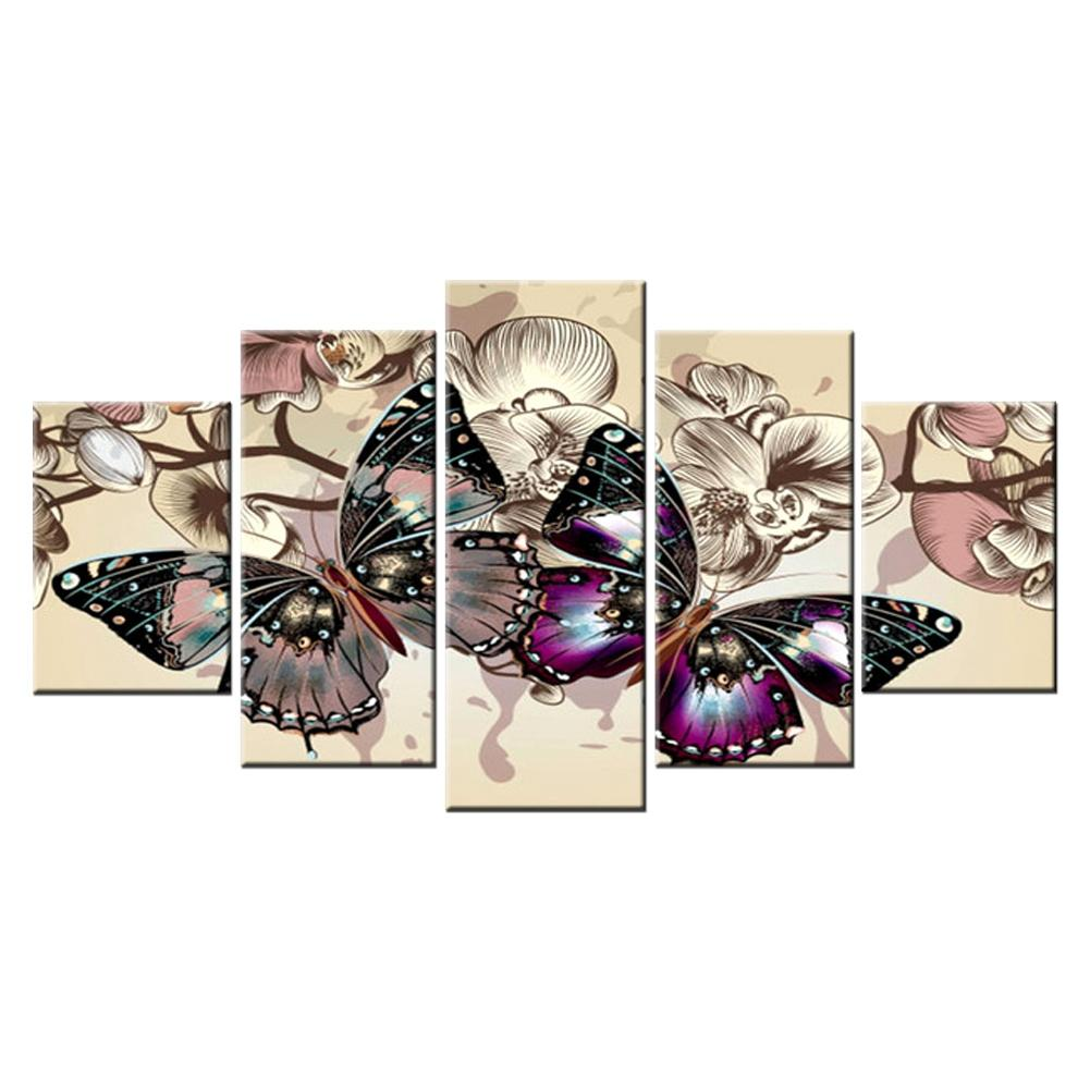 Diamond Butterfly Multi-Picture Combination Full Square Embroidery Cross Stitch Painting Art Gift 5Pcs/Set