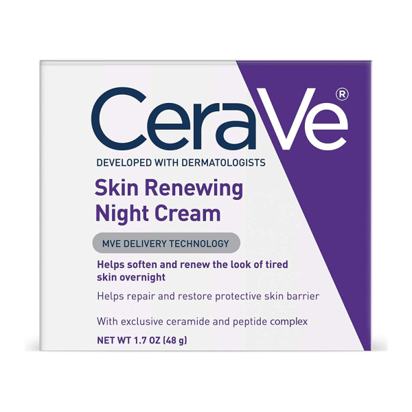 Buy CeraVe Night Cream for Face | Skin Renewing Night Cream with Hyaluronic Acid & Niacinamide | Fragrance Free | 1.7 fl oz (48g) Singapore