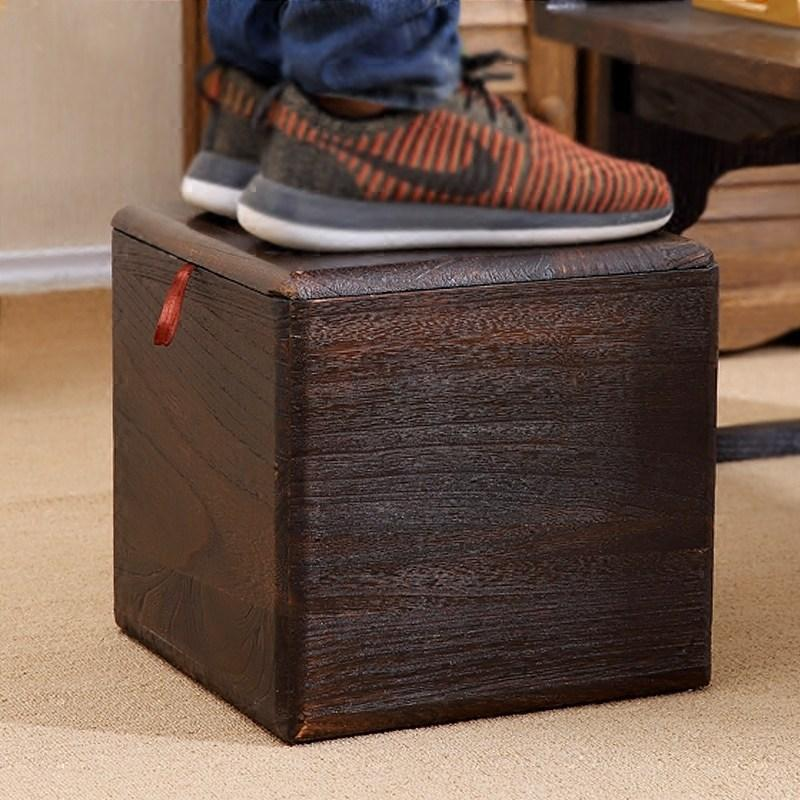Solid Wood Storage Chair Household Storage Stool Multi-functional Storage Box Toy Debris Finishing Box Rectangular Footstool