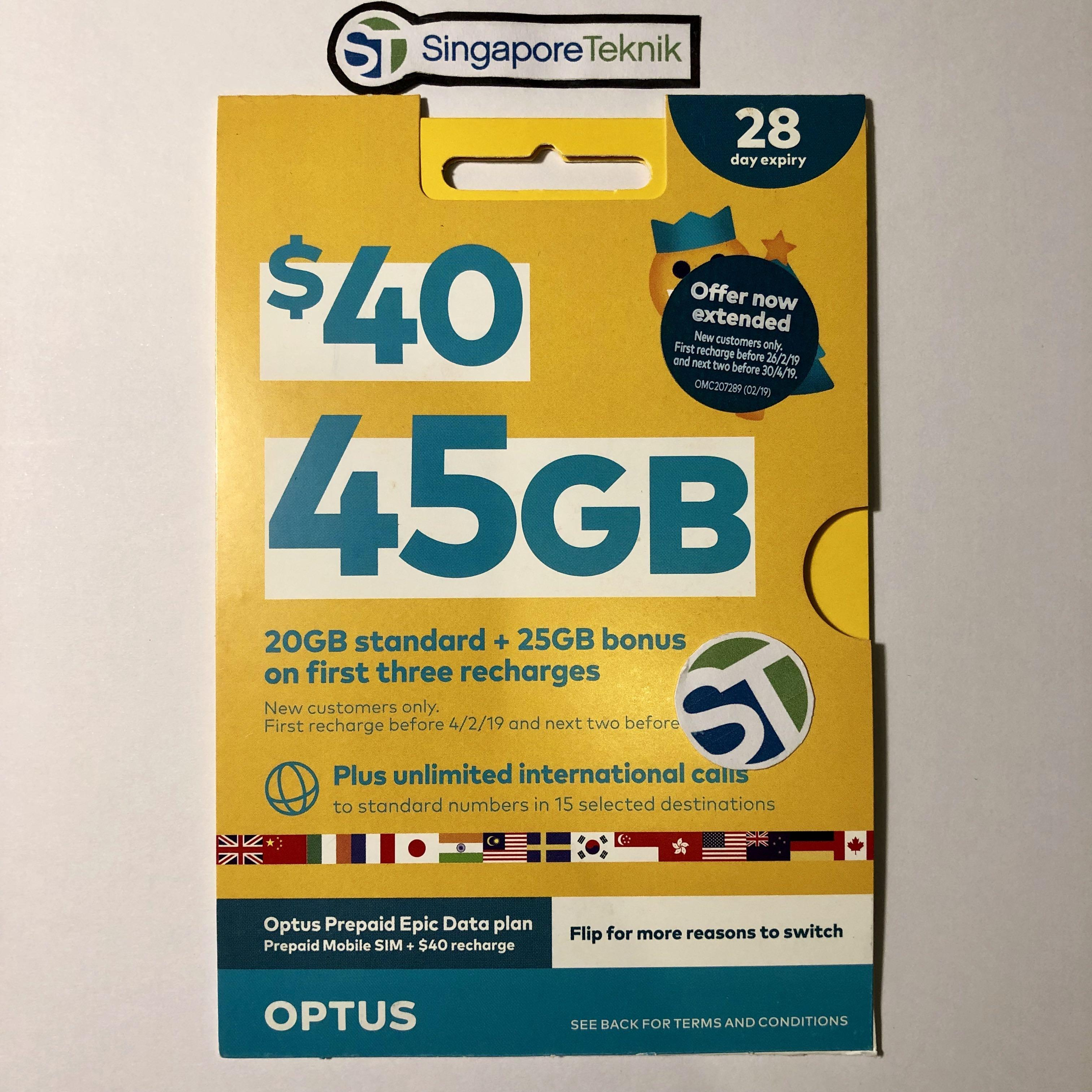 45gb Australia Prepaid Sim Data Card 28d Optus Aus Oz Mobile Free 4g Int Call Starter Nano Dataroam By Sgteknik.