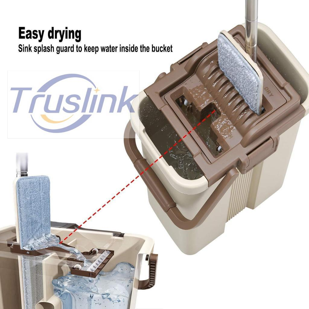 [sg Seller]truslink Hands Free Scratch Anet Mop With Stainless Steel Stick Thick Basket Free 2x Microfiber Mop Cloth Floor Mop Bucket Set By Truslink Technology.