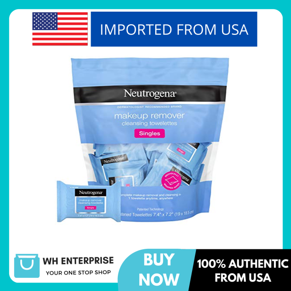 Buy Neutrogena Makeup Remover Facial Cleansing Towelette Singles, Daily Face Wipes to Remove Dirt, Oil, Makeup & Waterproof Mascara, Gentle, Alcohol-Free, Individually Wrapped, 20 ct Singapore