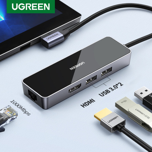 UGREEN 4-IN-1 USB C Hub, Dual USB 3.0 4K 30HZ HDMI Port Hub,1000Mbps RJ45 Lan Port Type c Dock Station