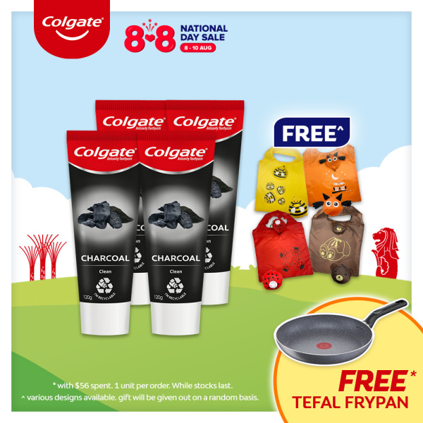 Buy [8.8] Colgate Naturals Pure Clean (Charcoal and Bamboo Mint) Toothpaste 120g [Bundle of 4] Value Deal + FREE Reusable Grocery Bag (61009899-4 + FOC0105) Singapore