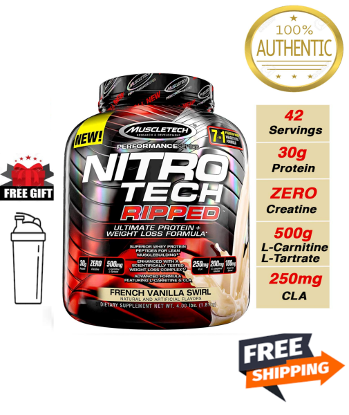 Buy MuscleTech Nitrotech Ripped Ultimate Protein And Weight Loss Formula French Vanilla Swirl 4.00 Lbs Nitro Tech Gnc Singapore