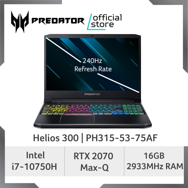 [LATEST] Predator Helios 300 PH315-53-75AF 240Hz Refresh Rate Gaming laptop with 10th Gen Intel Core i7-10750H Processor and NVIDIA GeForce RTX 2070 Max-Q