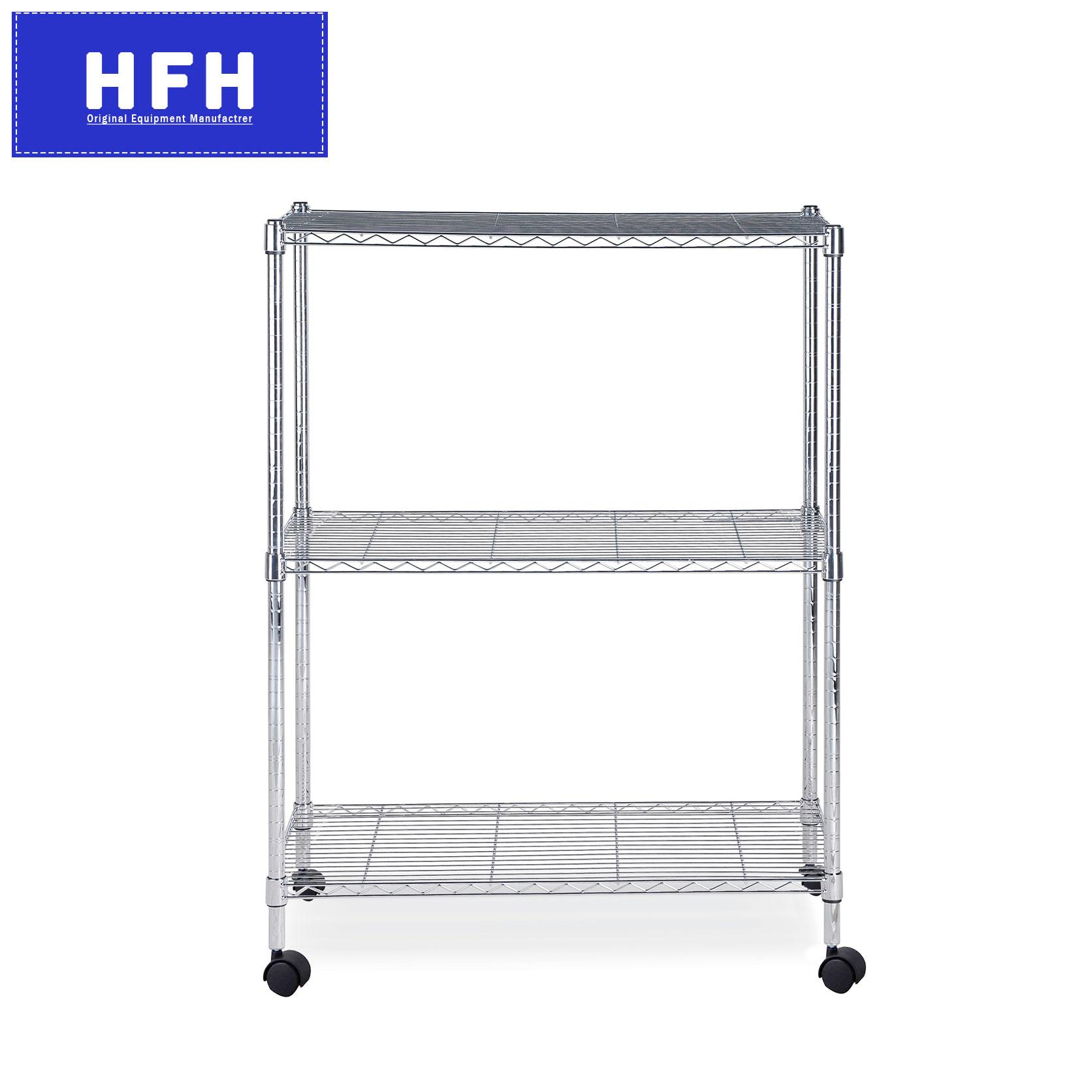 Toyogo DIY Wire Chrome Rack with Wheels (3 Tier)(HFH6852E)