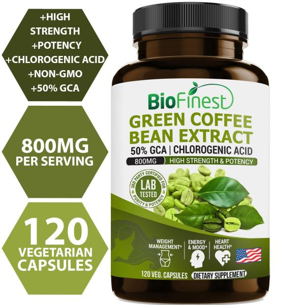 Buy Biofinest Green Coffee Bean Extract - With Chlorogenic Acid - Pure Gluten-Free Non-GMO - Made in USA - Green Coffee Antioxidant Supplement For Weight Management, Metabolism Booster (120 vegan capsules) Singapore