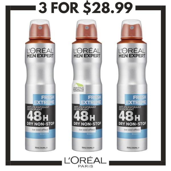 Buy LOreal Men Expert Fresh Extreme Anti-Perspirant Deodorant Spray 250mL (3pcs) Singapore