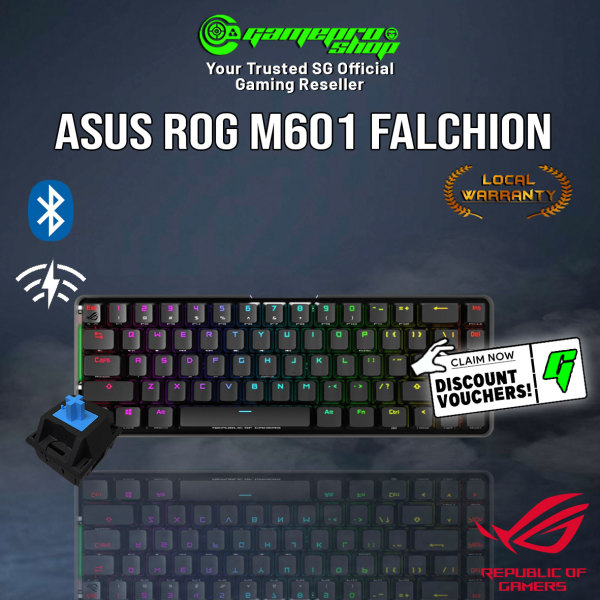 ASUS ROG Falchion NX 65% Wireless Bluetooth Gaming Keyboard Available in NX Blue/Red Switches (2Y)