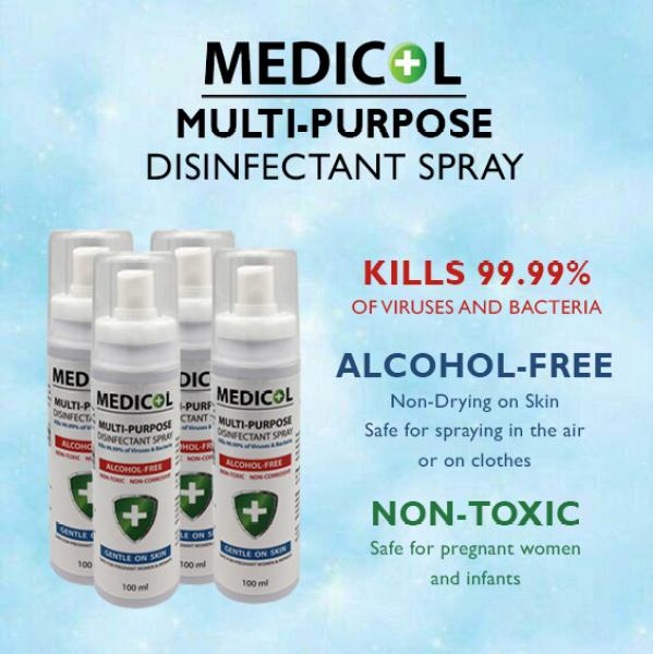 Buy MEDICOL Hand Sanitiser Disinfectant Spray (100ml x 4) Singapore
