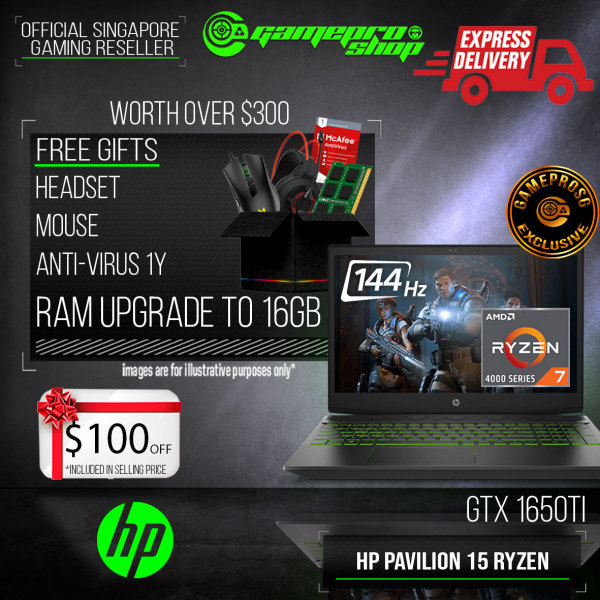 [Express Delivery] [Exclusive] HP Pavilion Gaming 15-ec1062AX Gaming Laptop (Ryzen7-4800H/8GB/512GB SSD/NVIDIA GTX1650Ti 4GB /15.6FHD 144Hz /W10) (2Y)