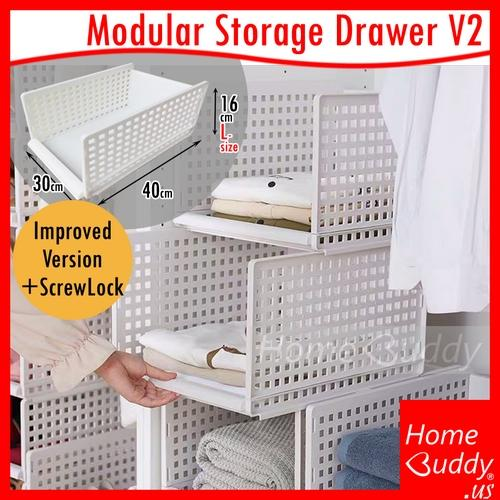 Modular Storage Drawer Version2 [Improved Version with ScrewLock] [Modular Retractable Stackable]_ READY Stocks SG_ HomeBuddy_ Acev Pacific_ wardrobe organisers