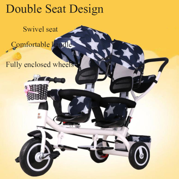 [Three Colors] Double ChildrenS Tricycle Twin Baby Strollers Swivel Seat With Storage Basket Can Be Pushed And Ridden For 1-7 Years Old Boys And Girls Singapore