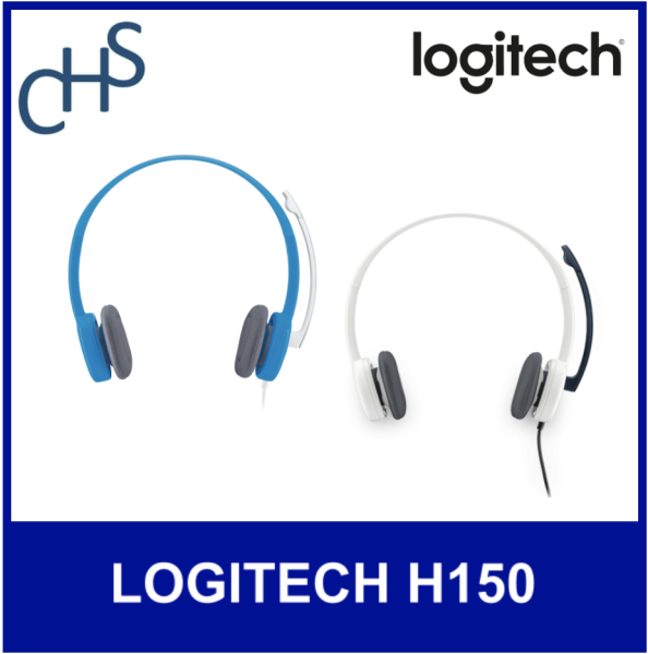 LOGITECH H150 CLOUD WHITE | SKY BLUE | 3.5mm Jack | 180 degrees microphone | Compatible with all platforms | 2 years warranty Singapore
