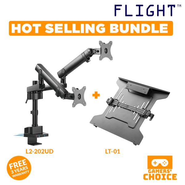 [HOT SELLING BUNDLE] LCD Monitor Arm with Laptop Holder Plate, Screen Weight Range 0-9Kg, Dynamic Spring Mechanism, Monitor Support with Double Arms Stretched, Cable Management Included, 3 Years Local Warranty, Home Office Ergonomics, L2-202UD, LT-01