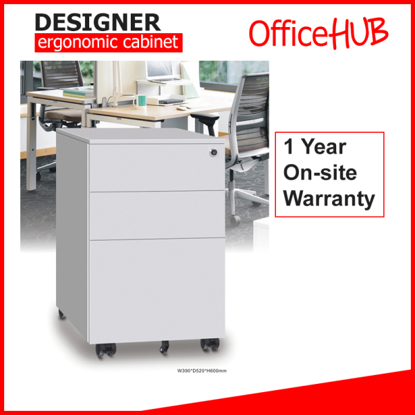 Steel Mobile Pedestal 2D1F with Handle ★ 2 Drawers, 1 Filing ★ FREE Pencil Tray ★ Scratch resistant Surface ★ Durable Wheels ★ Many Colours