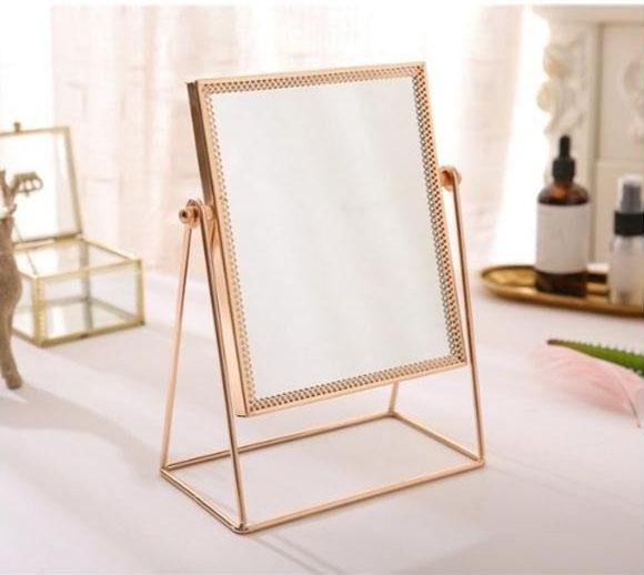 Nordic Metal Decorative Mirror Princess Desktop Make-up Mirror Gold toilet glass Girl Vanity Mirror Home Dressing Table Decor