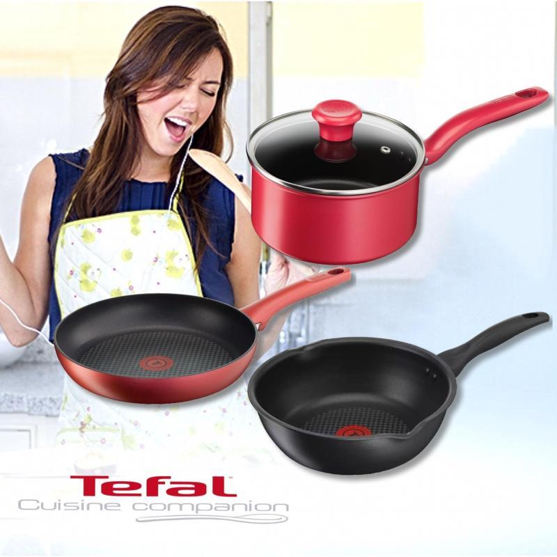 Tefal C64386/C64204 Pure Hard Titanium 24cm/28cm Deep Frypan • Tefal C64223 Saucepan 18cm FOR ALL HOBS + INDUCTION Singapore