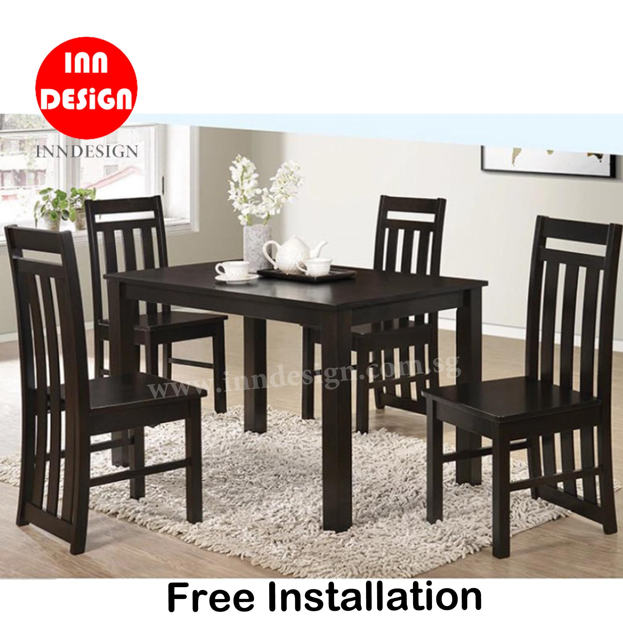 Edeline 1+4/1+6 Dining Set (Solid Wood) (Free Delivery and Installation)