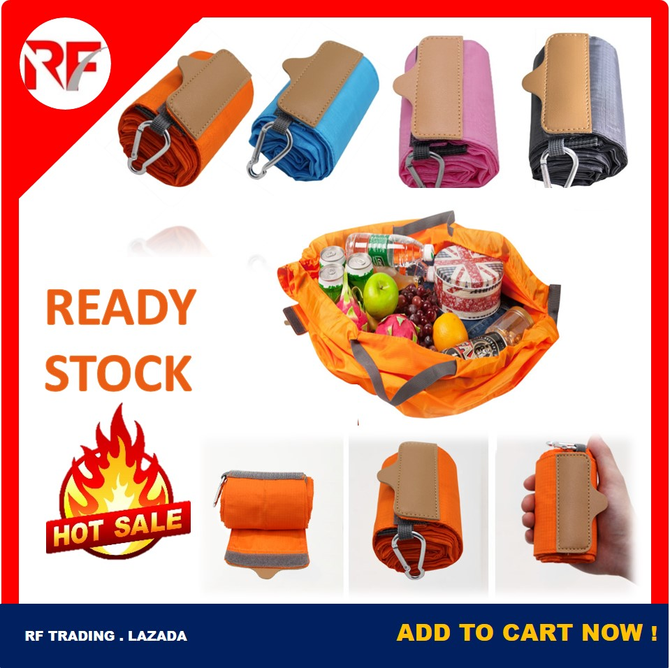 Foldable Shopping Bag ECO Recycle Reusable & Washable Travel Supermarket Basket Grocery Heavy Duty Large Capacity & Durable Portable & Widely Tote Bag Orange , Blue , Grey Color