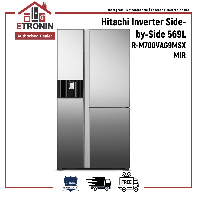 Hitachi Inverter Side-By-Side Fridge 569l R-M700vag9msx Mir.