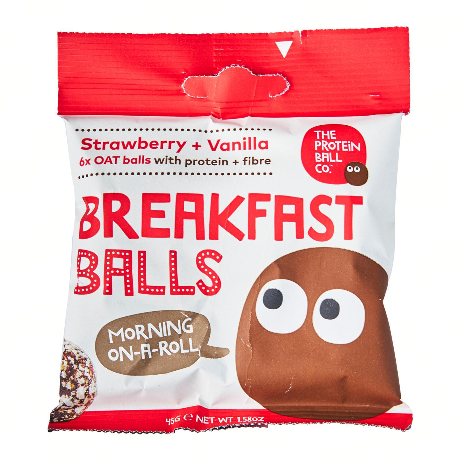 The Protein Ball Co All Natural Strawberry and Vanilla Breakfast Balls with Oats - Vegan