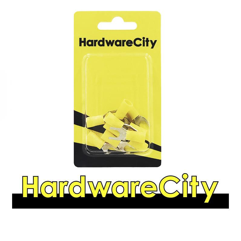 HardwareCity Insulated Crimp Fork Connectors, Yellow (12AWG - 10AWG), 10PC/Pack