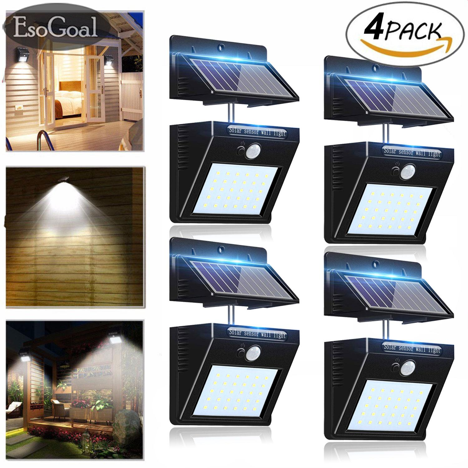 EsoGoal Outdoor Lighting Sensor Solar Wall light 30 LED Solar Lights with Separable Solar Panel Waterproof Solar Powered Motion Sensor Light Wireless Security Lights Outside Wall Lamp for Driveway Patio Garden Path (4 Pack)