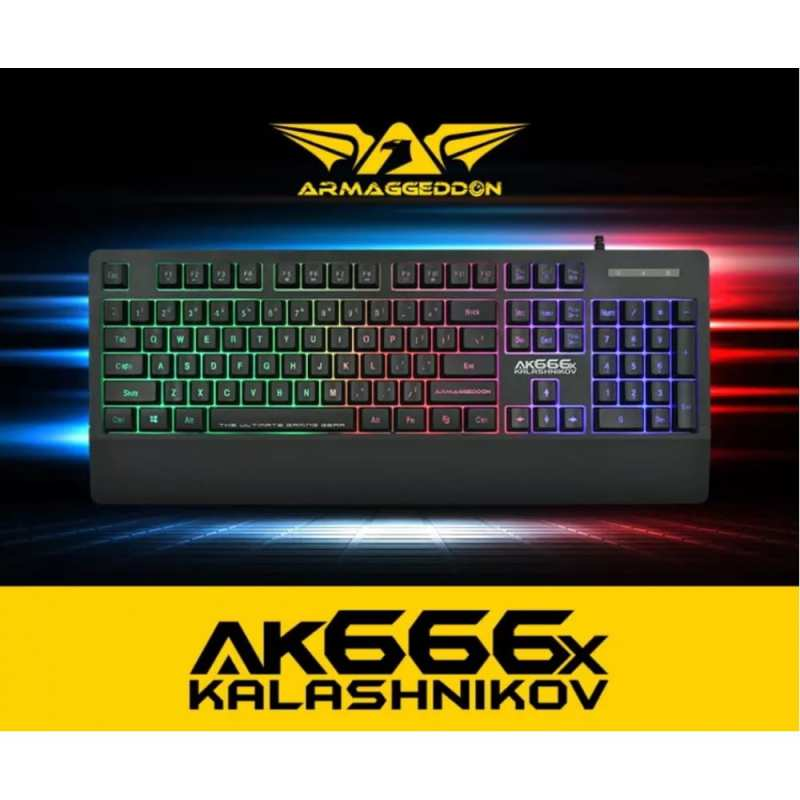 Armaggeddon Kalashnikov AK-666x Anti-Ghosting And Spill Proof Backlit Keyboard - 8 Lighting Effect Singapore