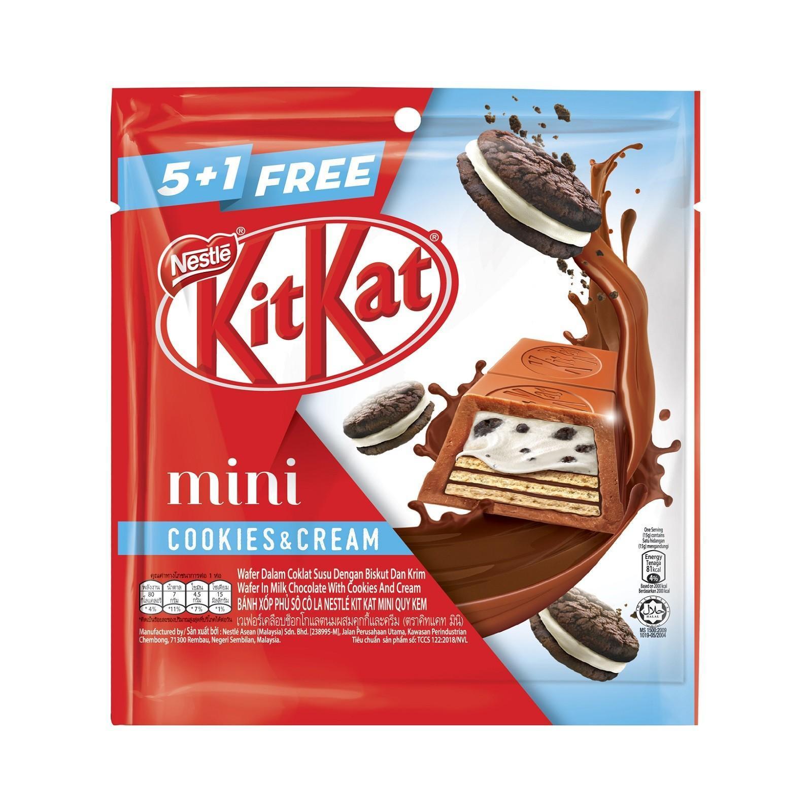 NESTLE KIT KAT Mini Cookies and Cream 5+1 Share Bag