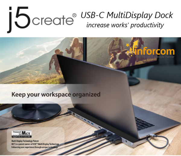 【NEW YEAR PROMO】j5 Create JCD543 USB-C™ Type C Triple Display HDMI 4K, Display Port, VGA Notebook Dock Laptop Docking Station Power Delivery | j5 Create JCD 543 (Games Travel Business Office Work Home, Learning Increase Productivity)