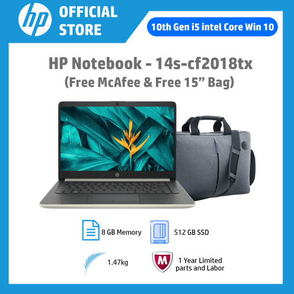 HP Notebook - 14s-cf2018tx / Intel® Core™ i5-10210U / 8 GB Memory / 512 GB SSD Storage / Win 10 (Free McAfee Antivirus s/w & Free 15 Bag)