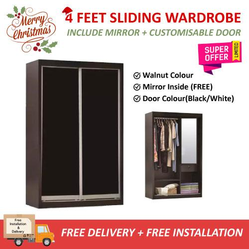 XMAS [A-STAR] EVAN GLASS DOOR SLIDING WARDROBE + MIRROR