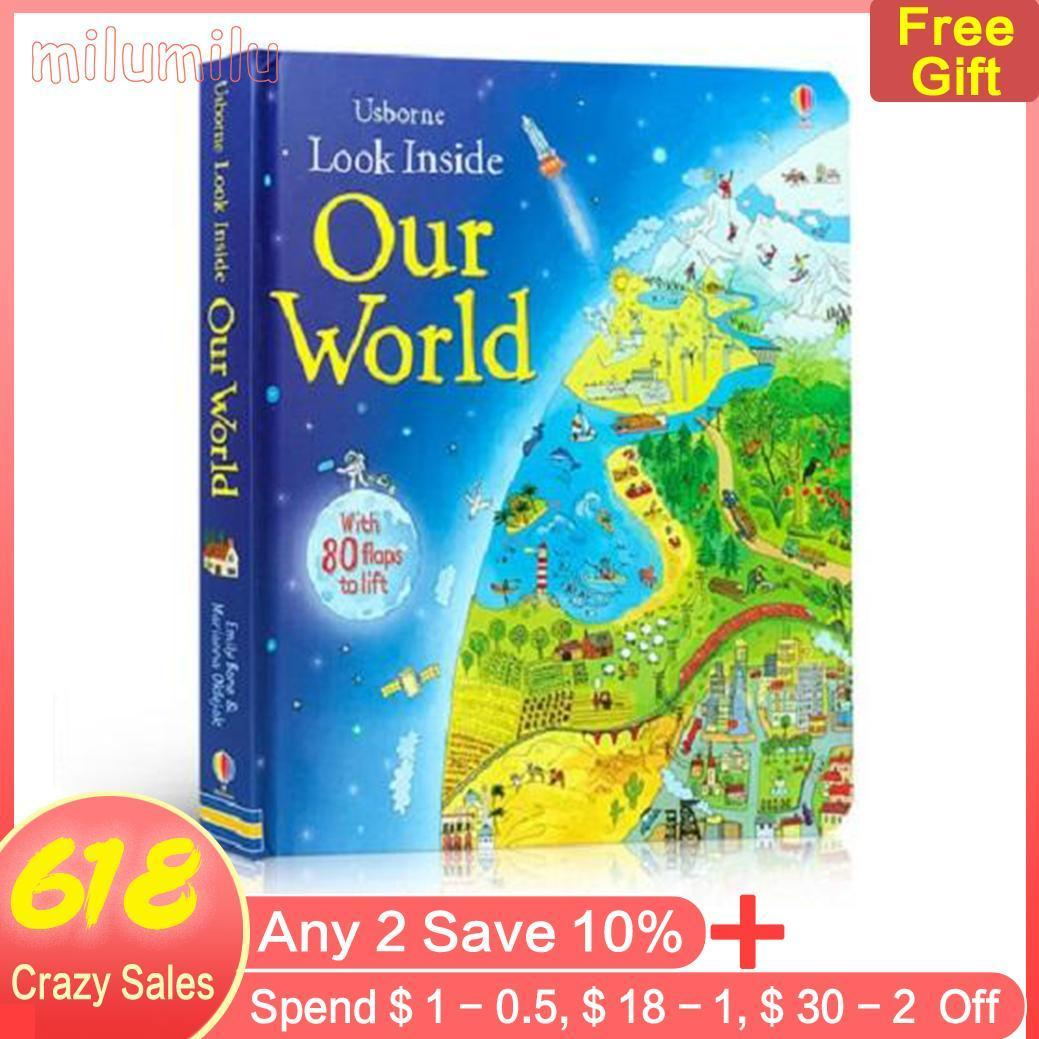 Usborne Look Inside Our World English Children Books Original Baby Educational Picture With 80 Flaps To Lift Gift For Kids